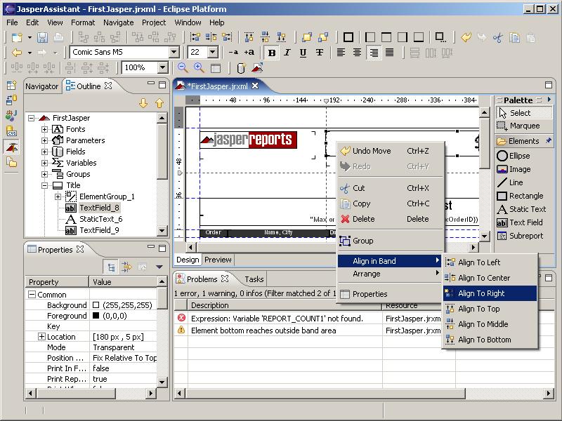 JasperAssistant report designer for JasperReports screenshot